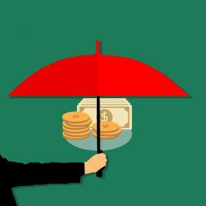 icona di ombrello che protegge il denaro